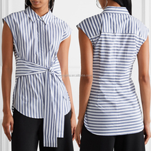 2017 Latest Fashion Top Design Tie-front striped cotton-poplin blouse back neck shirt tamil sexy girls images HSb5241