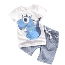 Summer New Style Short T-shirt +Short Pant Baby clothes Comfortable Romper Cartoon Dinosaur Newborn baby boy Clothes Y35