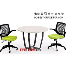 High top Iron Metal leg White small round office meeting table