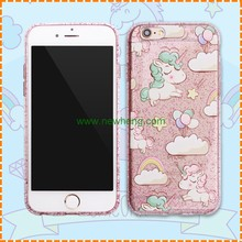Cute mobile phone cover for iphone 6s glitter unicorn 3d printing back cover case for iphone 6
