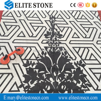 Decorative material waterjet marble mosaic floor medallion