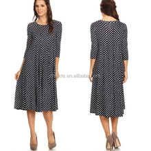 High Quality Adult Clothing Boutique Wholesale Summer Navy Polka Dot Jersey Knit Cotton Custom Midi Length Fancy Dress
