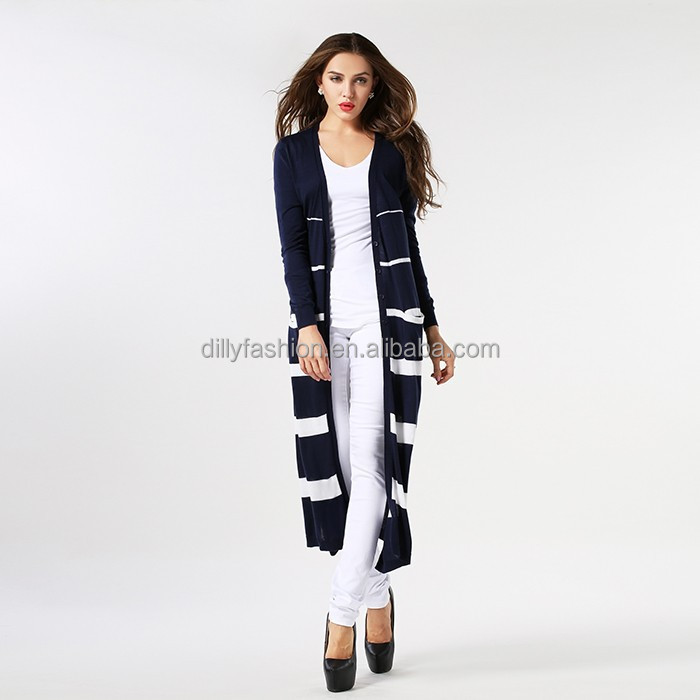 Ladies knitted silk cashmere long sleeve striped pattern maxi cardigan