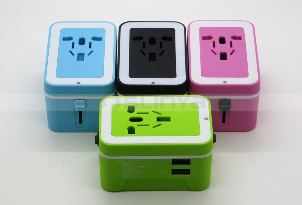 Universal Multi Jack USB Mini Power Wall Charger 100V-240V Plug Adapter With Dual USB Charger