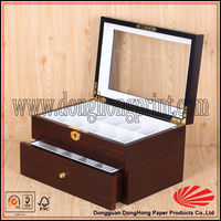 Two layers drawer wooden sewing box with clear lid