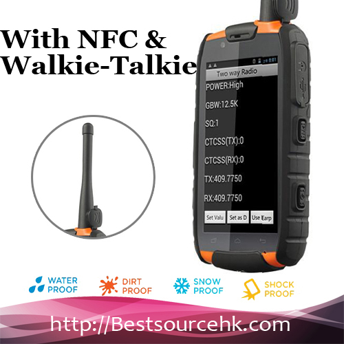 IP68 Dual sim 1G+4G MTK6589 4.0 inch Quad core NFC rugged phone with Walkie-Talkie with GPS waterproof smartphone