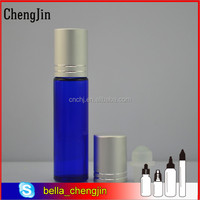 wholesale factory price blue 10ml glass roll on bottle with aluminum cap