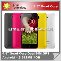 hotest cheap 3G W450 4.5inch quad core phone MTK6582 1.3G MHz Quad-core RAM:1GB/ROM:4G android 4.3