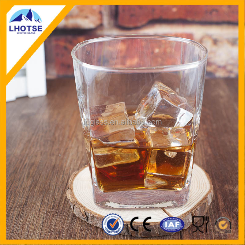 7oz High White Simple Design Square Shaped Drinking Whisky Glass
