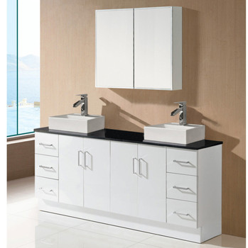 Wholesale Factory Price China Commercial Wall Hung Contemporary White Double Sink Bathroom