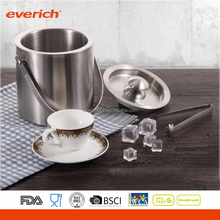 Large size Double Wall Stainless Steel Insulated Ice Bucket With Lid And Ice Tongs