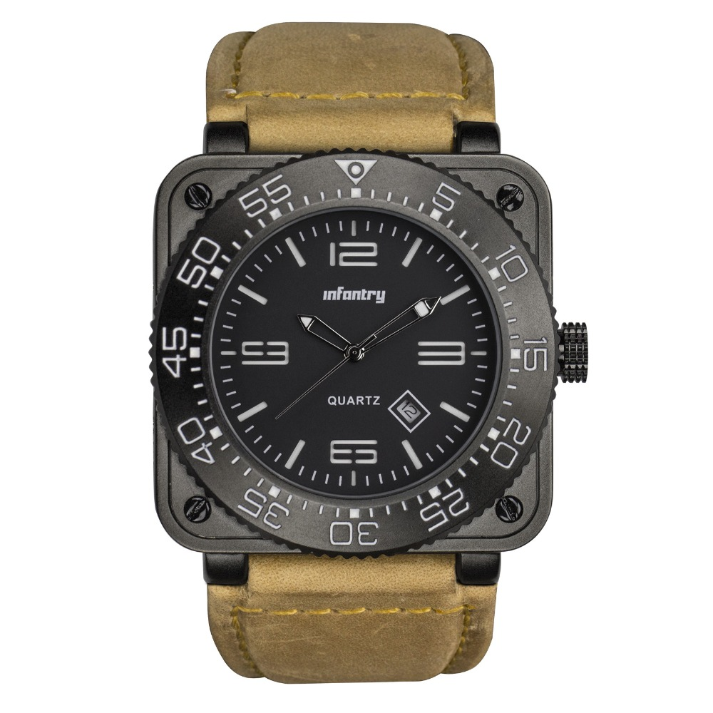 INFANTRY GENUINE LEATHER Black Waterproof Tactical Military Quartz Sport Watch