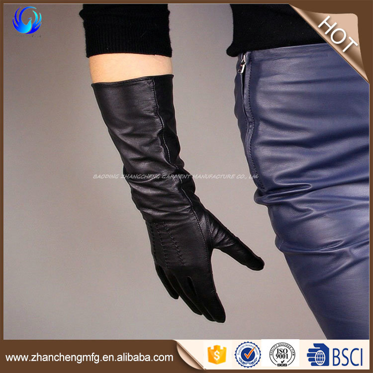 Brand new ladies' 32cm long leather gloves with low price