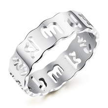 RJ Sanskrit Index Finger Six-Word Mantra Heart Sutra male and female couple Stainless steel ring