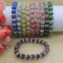 10mm shamballa diamond clay bead bracelet / polymer clay paved crystal necklace bracelet for jewelry