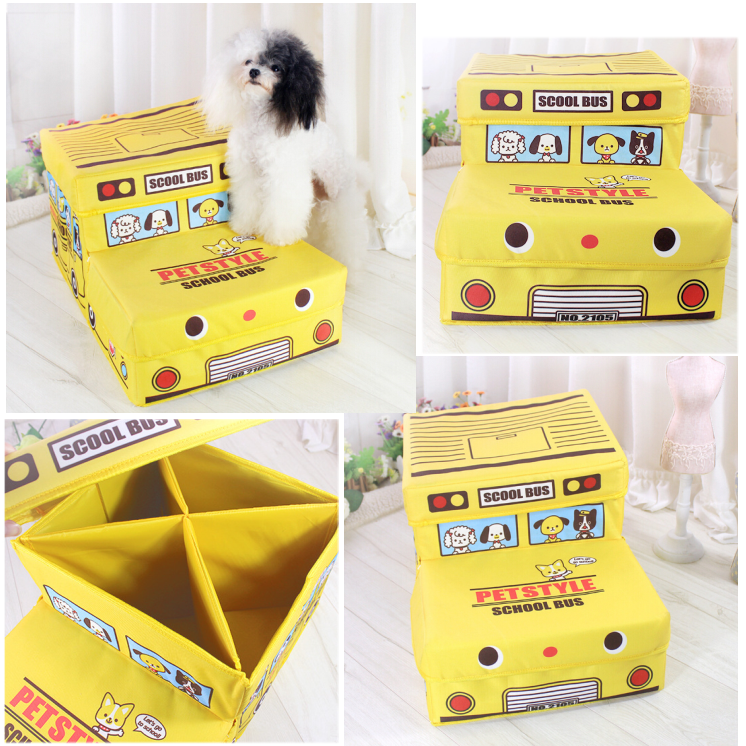 School Bus Foldable Dog Stair 2 Steps Furniture Wholesale Pet Products