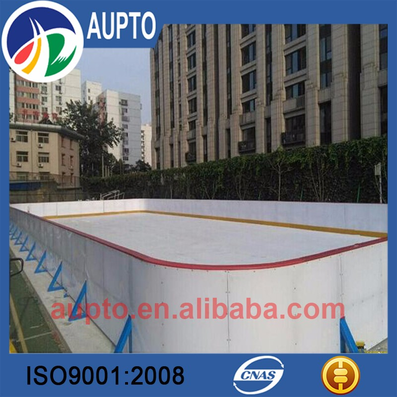 Self-Lubricating synthetic ice backyard rink with white combination boards