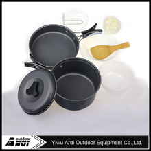 8pcs per set Outdoor Camping Hiking Cookware outdoor tablewares Backpacking Cooking Picnic Bowl Pot Pan Set