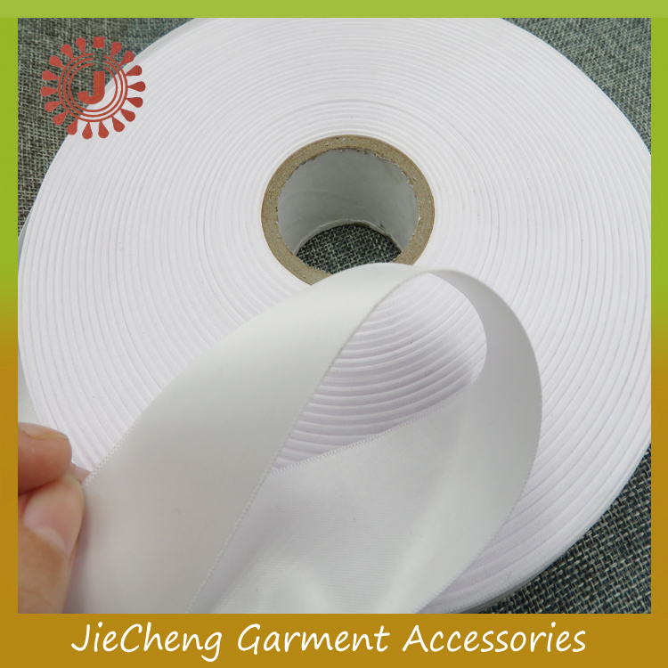 High quality garment clothing woven polyester ribbon satin webbing for printed wash care labels