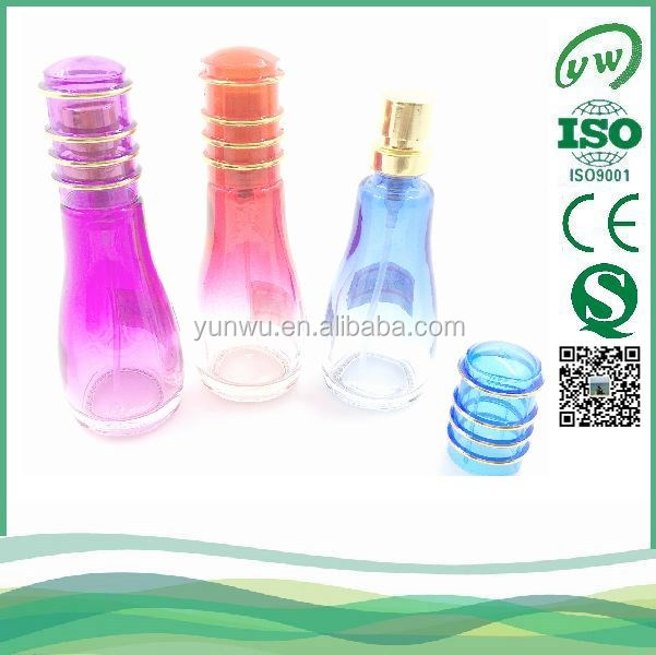30ML gradient rose red glass perfume bottle with k-resin cap