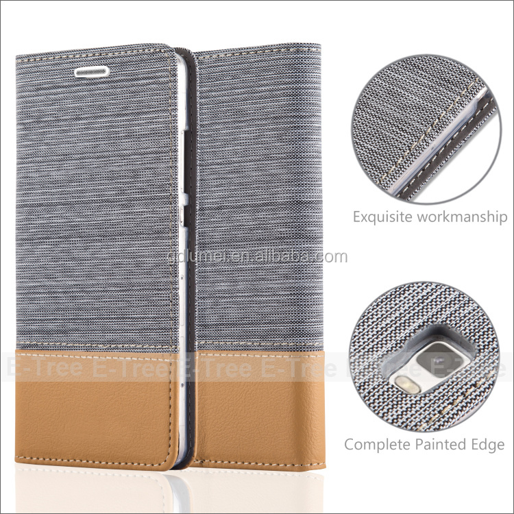 Hot Selling Card Slot Case for huawei P8 lite Jean Cloth Leather Case,phone leather case