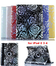 360 Rotating Glitter Rose Flower Patent Leather Stand Case For iPad 2 3 4 Luxury Shining Leather Cover Case