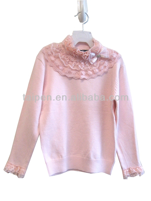 Hight Quality 100% Cotton Baby Girls Sweater Design With Lace O Neck Kids Sweater OEM Service GZ-02013