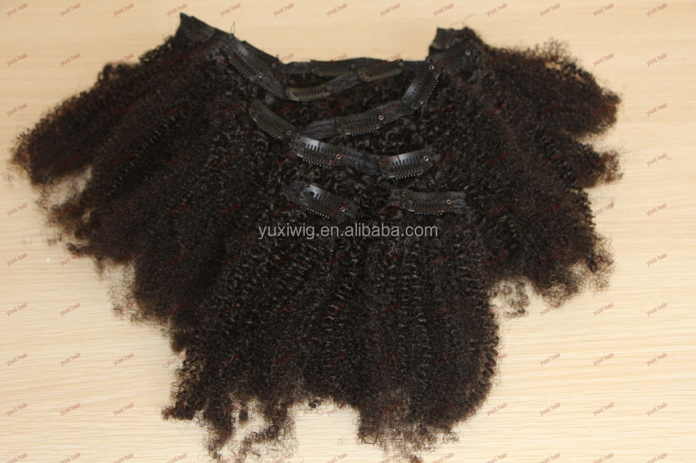 Hot selling tight afro kinky curly clip in hair extensions for black women