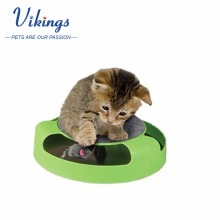 Wholesale corrugated interactive Scratcher Kitten Cat Toy Chase Mouse with Rotating mouse