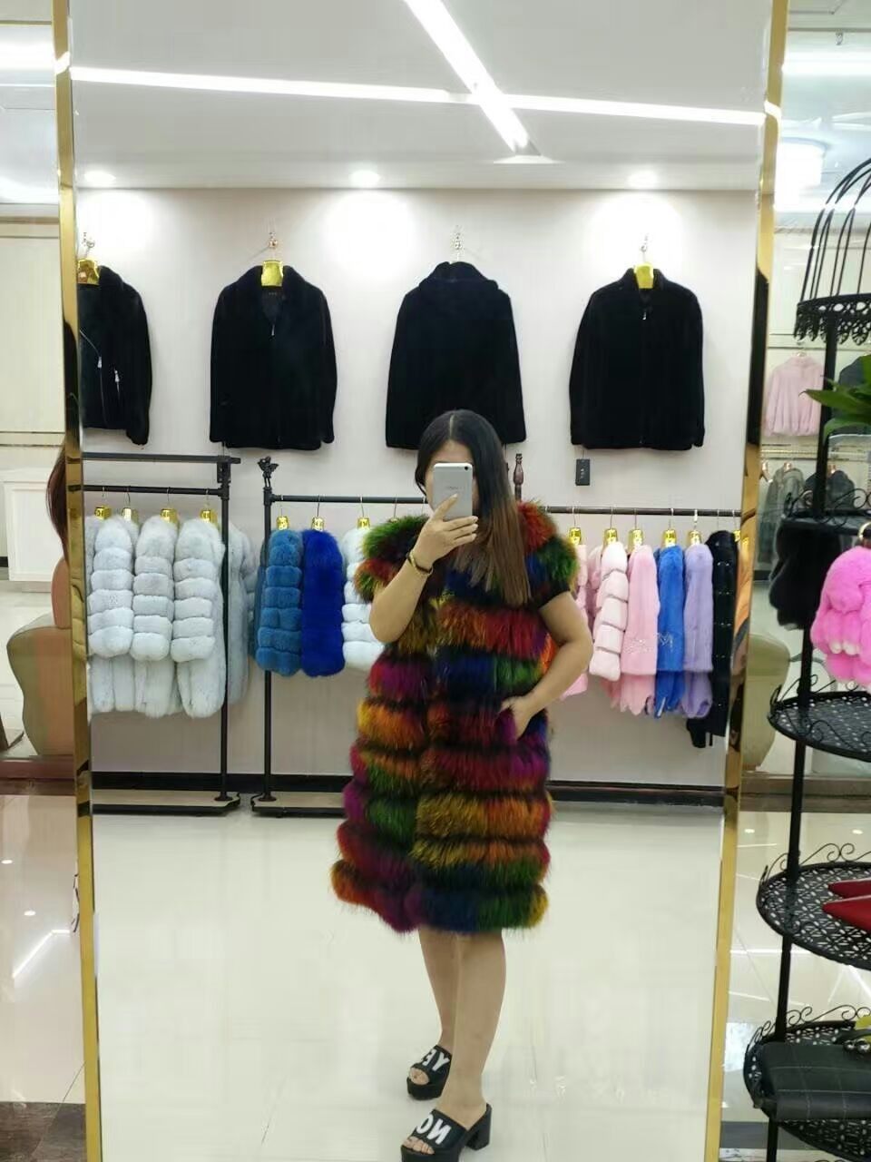 high quality european style grils rainbow long real raccoon fur vest