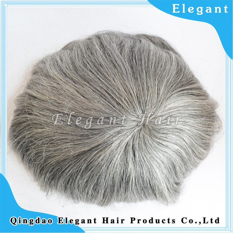 wholesale mono lace toupee for men 100% virgin malaysian human hair grey hairpieces