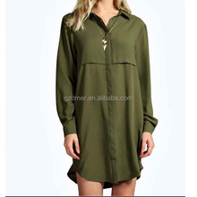 Long sleeves double plackets ladies Casual woven shirt dress