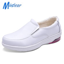 Hospital Use <strong>Safety</strong> Working Shoes, Winter Warm Fur Fleece Lined Women Medical White Nursing Shoes