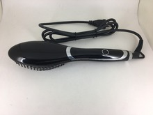 Hot brush 2017 Temperature control fast hair straightener with LED display made in ningbo,heating hair straightener brush
