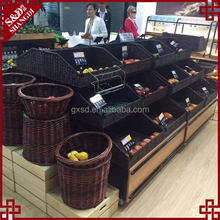 Wholesale fruit and vegetable storage rack with T-shape pe rattan basket