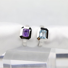 Exquisite Crystal Ring Cubic Shape Value 925 Sterling Silver Ring Designs for Girl with Kyanite or Amethyst