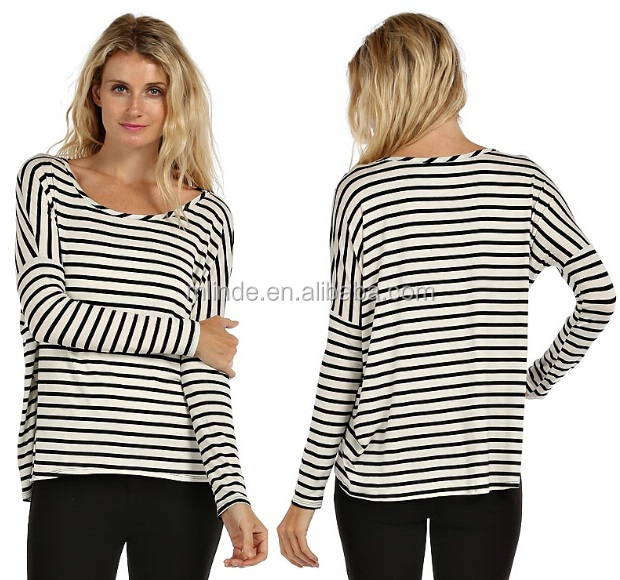smart casual blouse, long sleeve cotton blouse, stripe printed blouse for lady