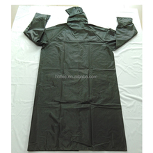 Heavy duty mens black 170T pvc coated long military raincoat
