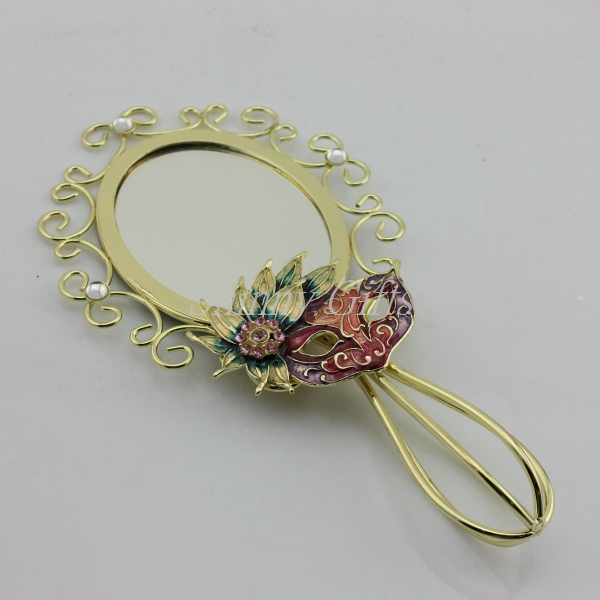 Shinny Gifts Fashion Gifts Hand Mirror with Handle Vintage Hand Mirror Gold