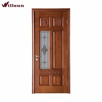 Rubber finger-joint crude solid wood with side fixed glass wooden decorated panel door designs for office house interior gate