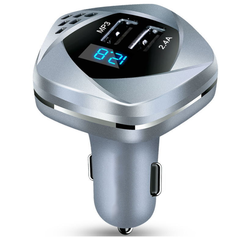 T-N0106-25 Car Charger Dual USB charger 2.4A and MP3 with Volt Display