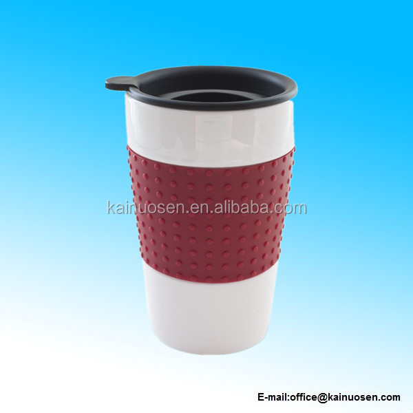 Eco Travel Mug with Red Sleeve and Black Drink Through Twist Lid, 12-Ounce