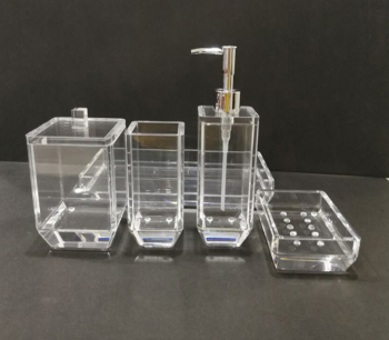 hotsale high quality acrylic countertops 5pc set soap pump, tumbler, Storage Jar, soap dish, tray