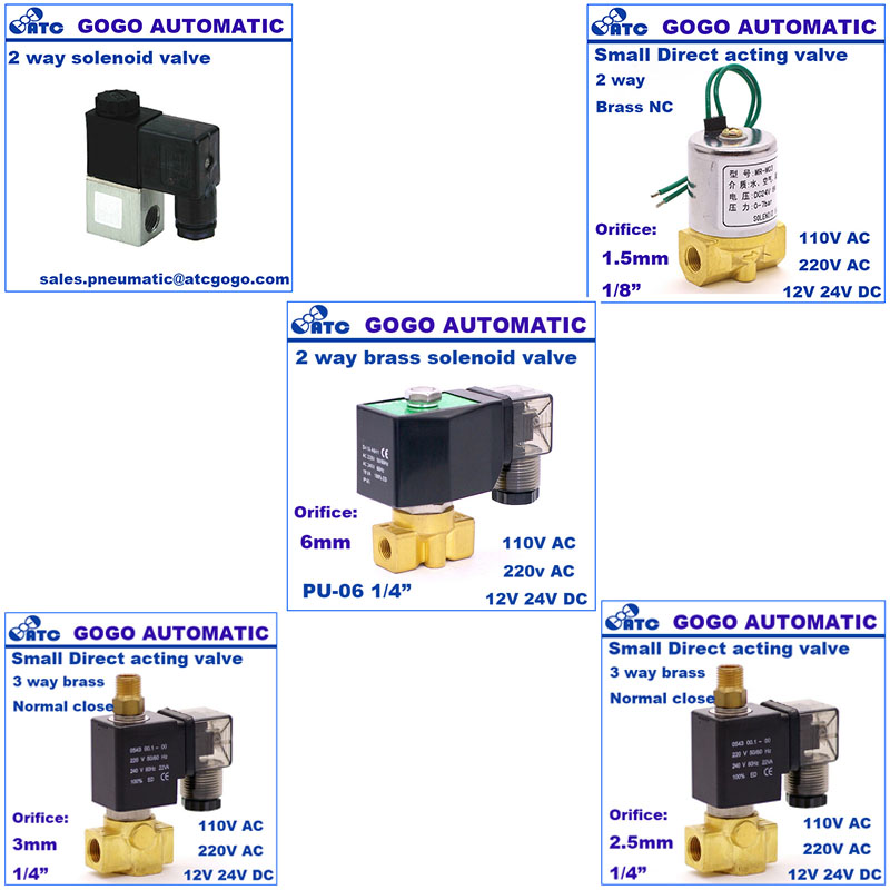 2/2 way AIRTAC type solenoid valves with valve base and manifold