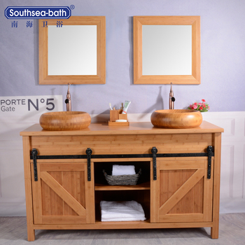 US Popular Two Barn Door Design Bamboo natural color bathroom basins