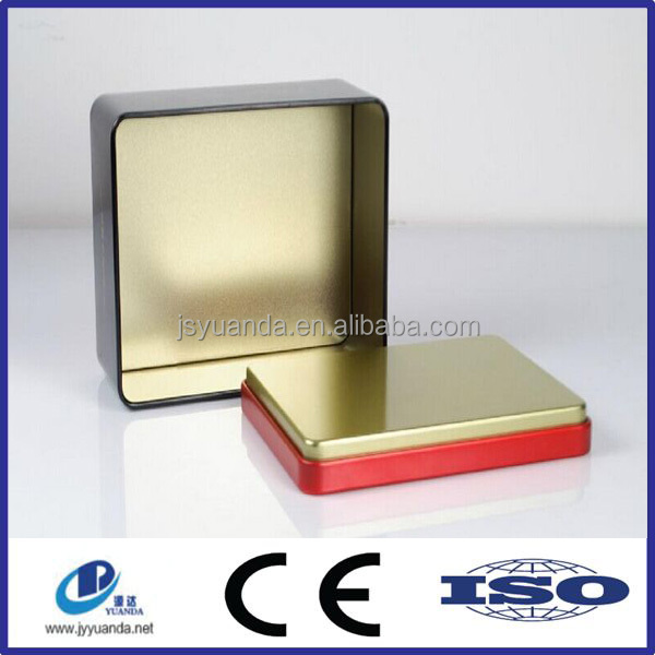 Decorative Embossed Empty Airtight Tin Rectangular Shape Metal Tin Can For Sale