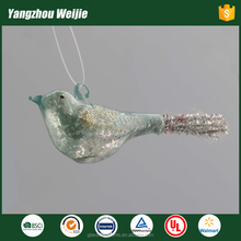 Blowing glass with bird shape for party decoration christmas