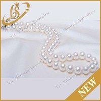 Fashion natural white color real pearl necklace beaded necklace in bulk