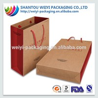 Wholesale kraft paper shopping bag with ribbon handle