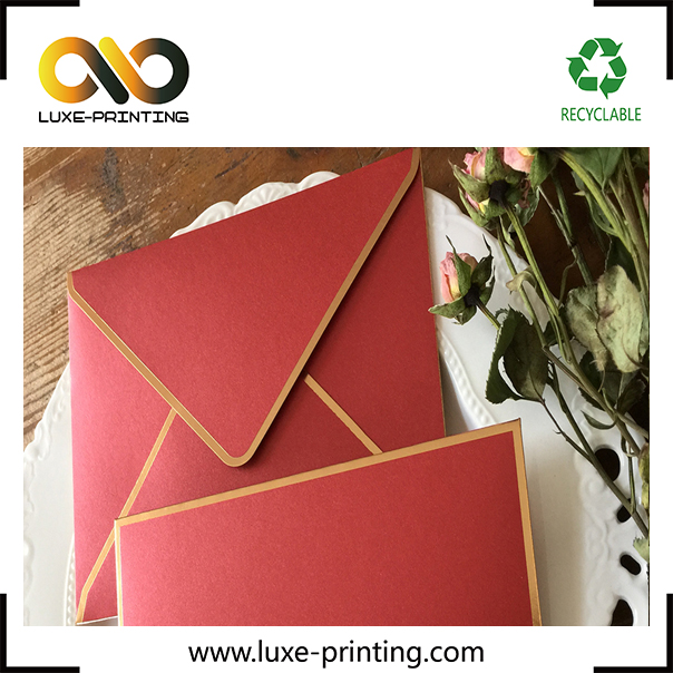 Custom made decorative gold edge foil stamping a4 red envelope